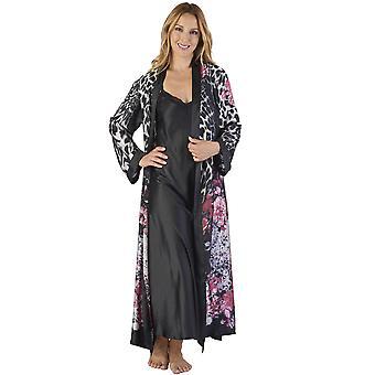 Slenderella GL2786 kobieta zwierzęta satynowe Kimono kwiatowy i zestaw Koszula nocna