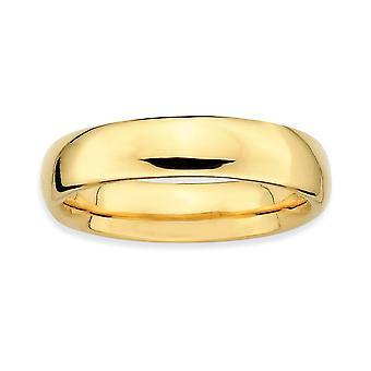 Sterling Silber stapelbar Ausdrücke Gold blitzte polierten Ring - Ringgröße: 5 bis 10