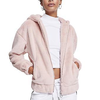 Señoras urbano clásicos - chaqueta de peluche rosa con capucha
