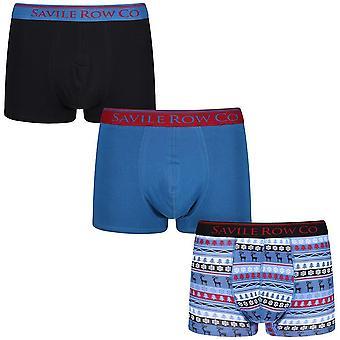 Savile Row Underwear 3 Pack Boxer Short Trunks Noel