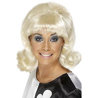 Long Blonde Curly Wig, 60s Flick-Up Wig. Fancy Dress Accessory
