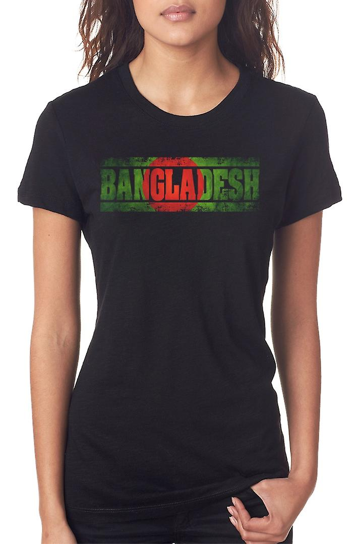 Bangladeshi Bangladesh Flag - Words Ladies T Shirt