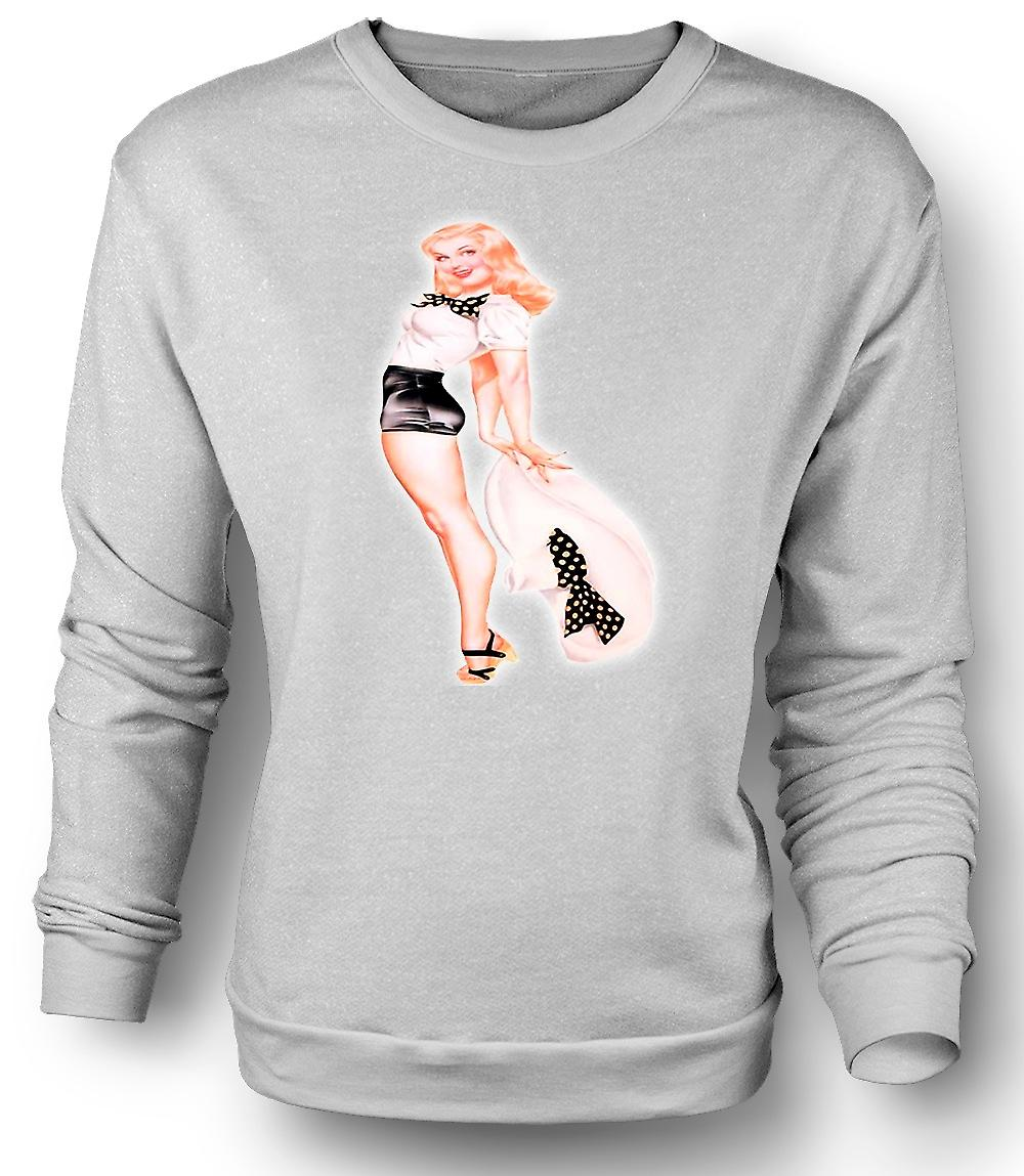 Mens Sweatshirt Big Hat Blonde Vintage Pinup