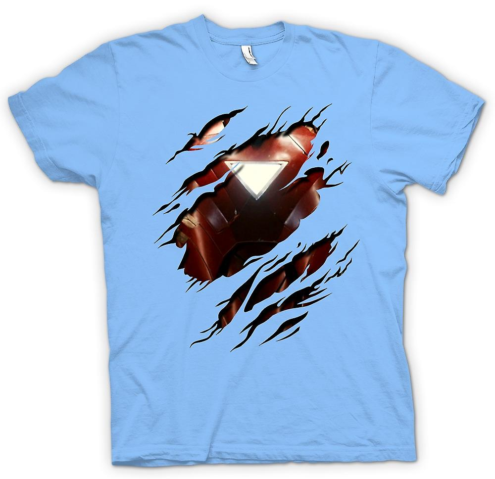 Mens T-shirt - Iron Man 2 Triangle Arc - Superhero Ripped Design