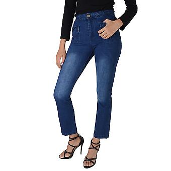 Lovemystyle Navy Blue High Waisted Flared Jeans With Plate Hem - SAMPLE
