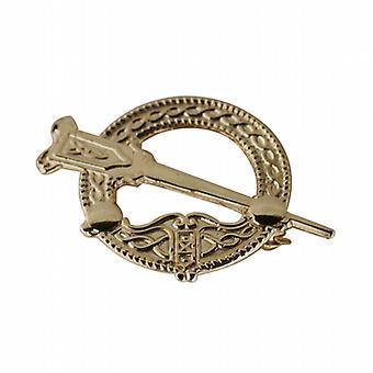 9ct Gold 22mm embossed Tara Brooch