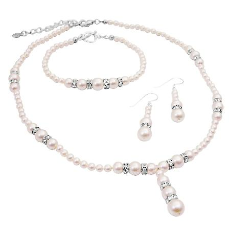 Traditional Ivory Pearls Bridal Bridesmaid Jewelry Set