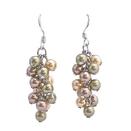 Bunch Pearls Earring Swarovski Pearls Sterling Silver Earrings