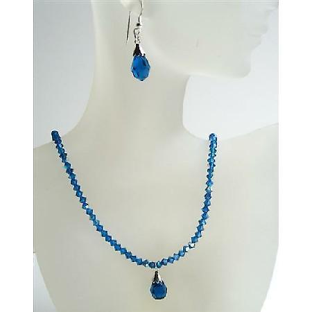 Swarovski Crystals Jewelry Dark AB Sapphire Tear Drop Pendant Earrings