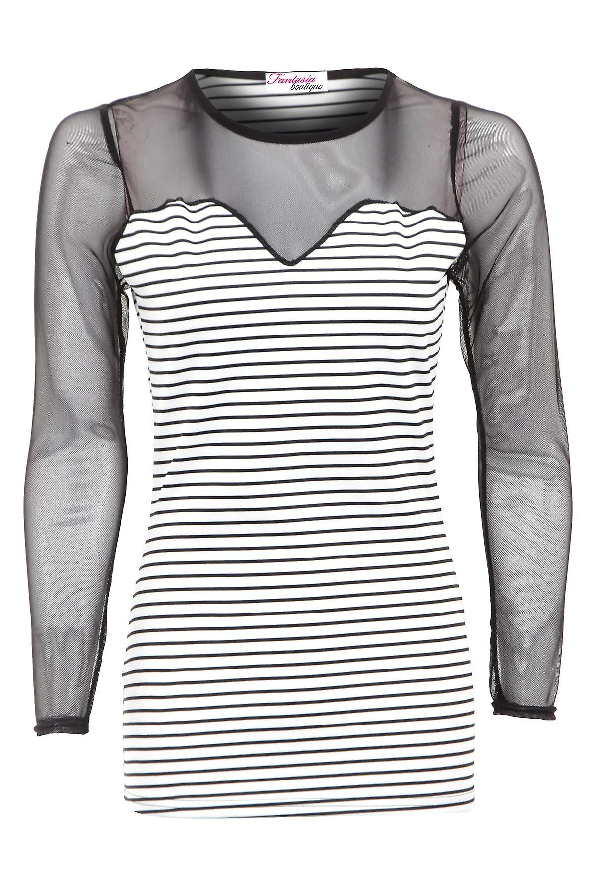 New Ladies Long Mesh Sleeves Black White Striped Women's Top