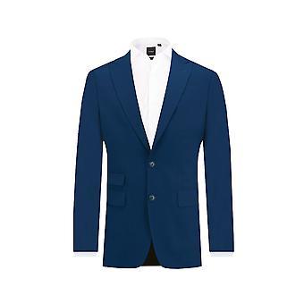 Dobell Mens Bright Blue Suit Jacket Tailored Fit Peak Lapel