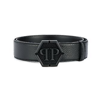 Philipp Plein Black Leather Belt