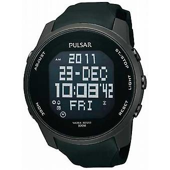 Pulsar Mens Digital Ion Plated Steel Black Rubber Strap PQ2011X1 Watch