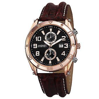 August Steiner Men's Swiss Quartz Multifunction Leather Rose-Tone Strap Watch AS8117RG