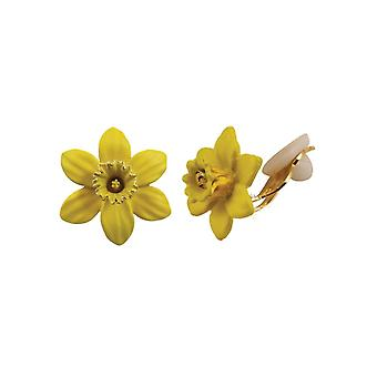 Eternal Collection Daffodil With Trumpet Yellow Enamel Petite Gold Tone Stud Clip On Earrings