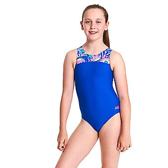 Zoggs Girls Ocean Play Infinity Back One Piece Swimsuit - Blue