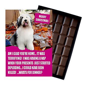 Gamla engelska får rolig julklapp till hundälskare choklad gratulationskort Xmas present