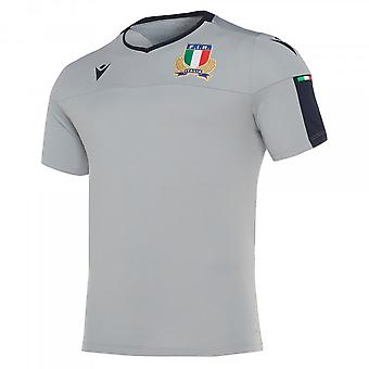 2019-2020 Italië macron rugby spelers training shirt (grijs)