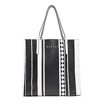 REPLAY Fw3815.001.a0355a - Multicolored Women's Handbag (Stripes Blk Wht Sil) 16x38x38 cm (B x H T)