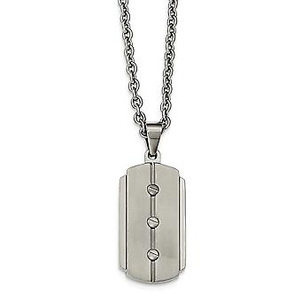 Stainless Steel Brushed and Polished Dog Tag Necklace - 24 Inch