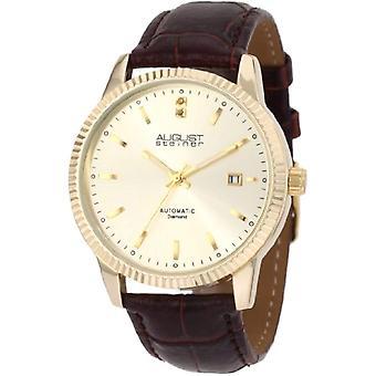 August Steiner ASA825YG quartz wrist watch, analog, Man, Skin, Brown