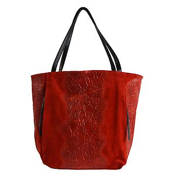 CTM ladies handbag genuine Italian leather suede upper with animal pattern made in italy