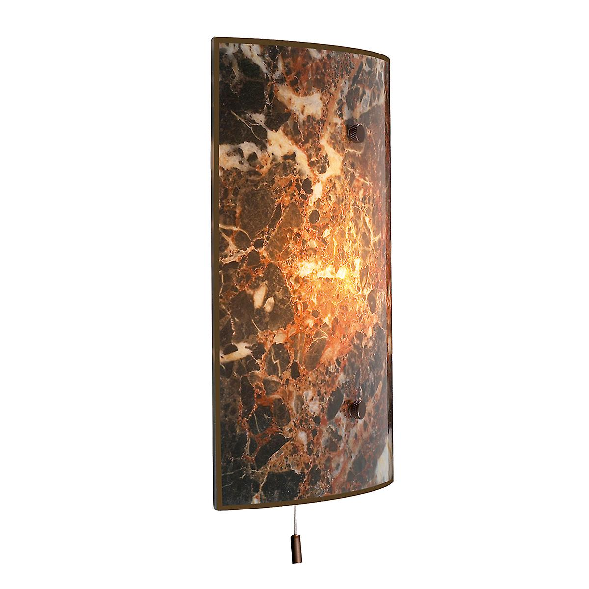 David Hunt MGW8 Savoy Traditional Wall Light With Dark Marble Glass