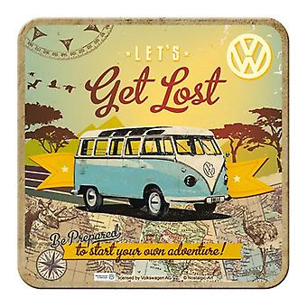 Official VW Camper Van Cork Backed Drinks Coaster - Lets Get Lost