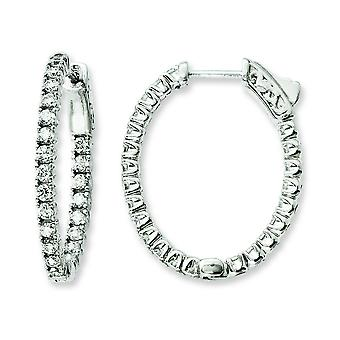 Sterling Silver Polished Hinged hoop Safety clasp Rhodium-plated Rhodium Plated Cubic Zirconia In and Out Oval Hoop Earr
