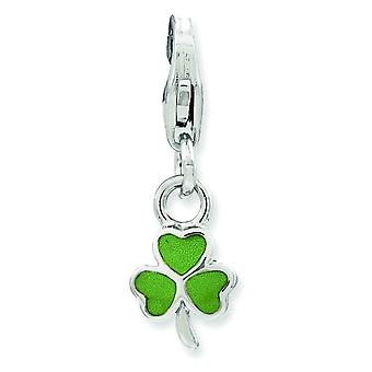 Sterling Silver Enameled Clover With Lobster Clasp Charm - .7 Grams