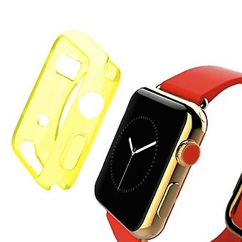 Ultra mince protection affaire Smartwatch sac pochettes TPU pour Apple montre 42 mm transparent jaune