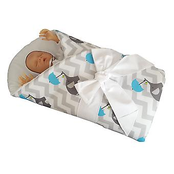 BlueberryShop Swaddle Blanket Wrap Duvet for Newborn Baby with Stiffened / Hard  Back (Removable Sponge Insert)Cotton