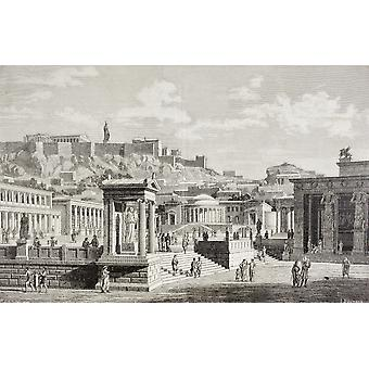 Imaginary View Of The Market Place Of Agora In Athens Ancient Greece From El Mundo Ilustrado Published Barcelona 1880 PosterPrint