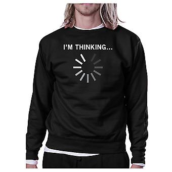 Im Thinking Black Sweatshirt Work Out Pullover Fleece Sweatshirts