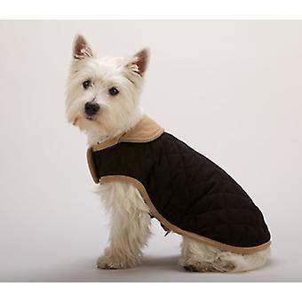 Hund Gone Smart ruskind quiltet mave frakke sort 51cm (20