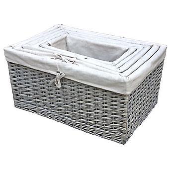 Set of 5 Sussex Lined Wicker Storage Baskets