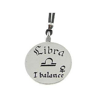 Handmade Venus / Libra Zodiac Sign Astrology Pewter Pendant ~ 36 inch Black Cord