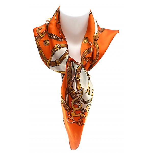 W.A.T Square Orange Baroque Print Square Polyester Scarf