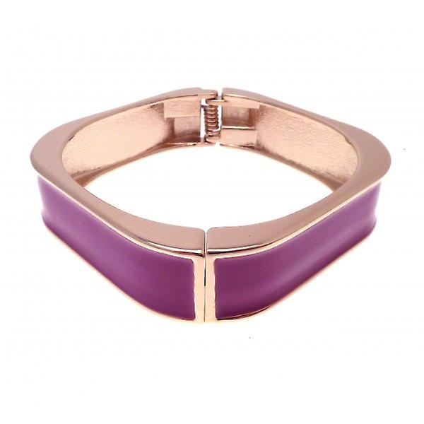 W.A.T Gold Style Square Fuchsia Enamel Bangle