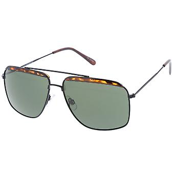 Frente retro acento fino Metal marco Plaza aviador gafas de sol 61mm