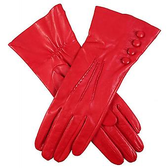 Dents Rose Silk Lined Leather Gloves - Berry