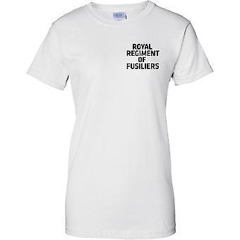 MOD con licencia - ejército británico regimiento real de Fusiliers - texto - señoras pecho diseño camiseta