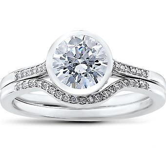 1 1/5 ct Lab gegroeid Diamond Engagement Ring Set witgoud IGI gecertificeerde (G-H, VS)