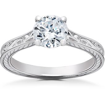 1 ct Eco Friendly Lab Grown Vintage Scroll Solitaire Sophia Engagement Ring 14k