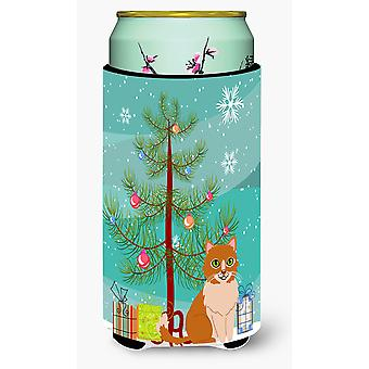 Merry Christmas Tree Ural Rex Cat Tall Boy Beverage Insulator Hugger