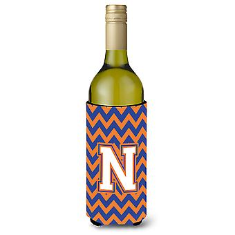Letter N Chevron Blue and Orange Wine Bottle Beverage Insulator Hugger