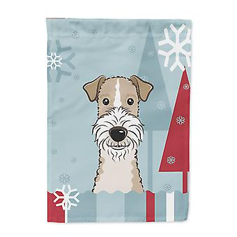 Winter Holiday Wire Haired Fox Terrier Flag Canvas House Size