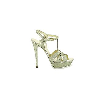 Saint Laurent Damen 457754GIH009704 Gold Glitzer Sandalen