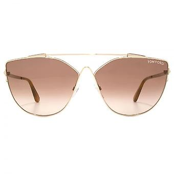 Tom Ford Jacquelyn 02 Sunglasses In Shiny Rose Gold Brown Mirror