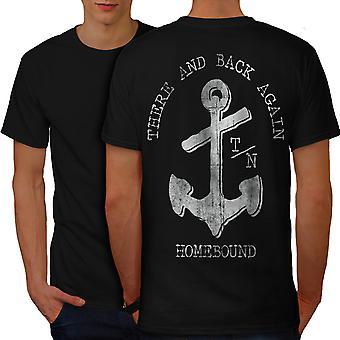 There Back Again Slogan Men BlackT-shirt Back | Wellcoda